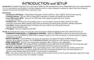 Keeley Compressor Pro Setup Instructions