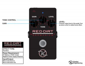Keeley Red Dirt Germanium Overdrive Instruction Manual Card