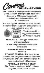 Keeley Electronics Caverns Reverb Delay Instructions