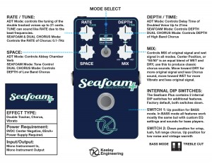 Keeley Seafoam Chorus Instructions Control Descriptions