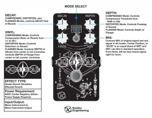 Keeley Gold Star Reverb Instruction Manual Card