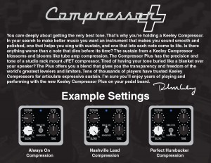 Keeley Electronics Compressor Plus Pedal Instructions