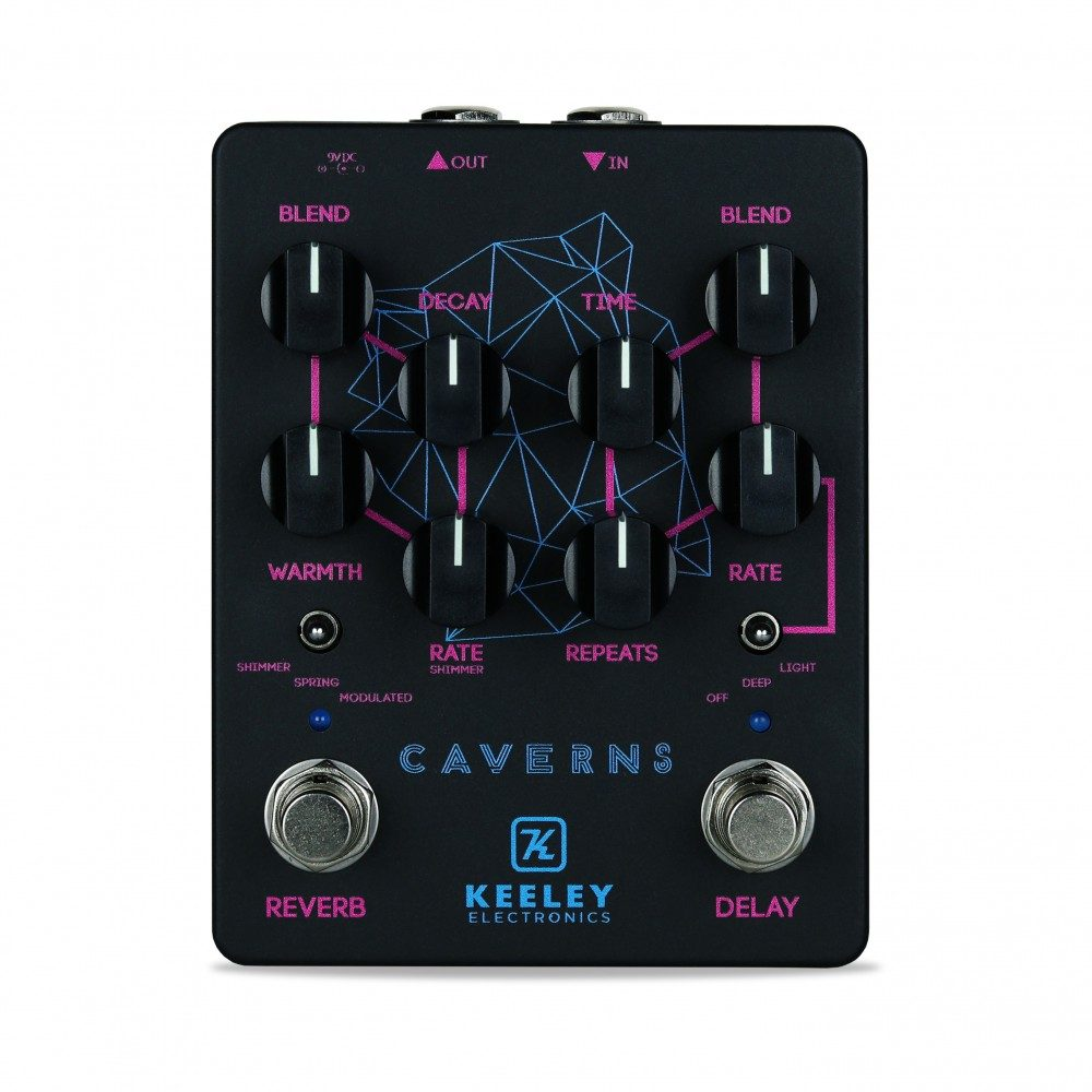 Keeley Electronics Caverns Custom Shop Black Neon Pedal Front