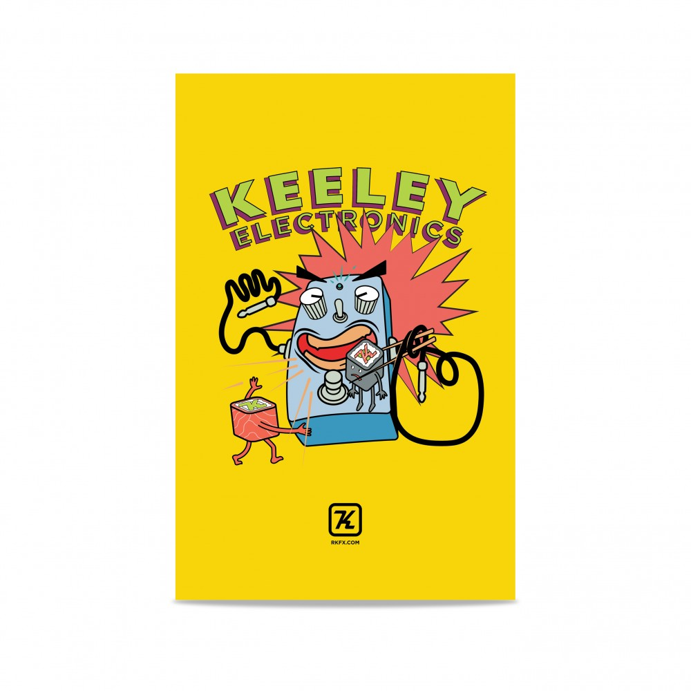 Keeley Electronics Yellow Poster on White BG