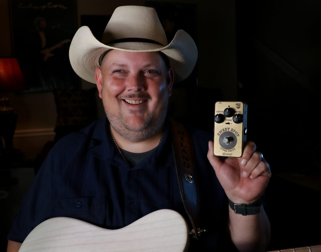 Johnny Hiland with the new Sweet Spot Signature Overdrive and Kiesel Signature Guitar